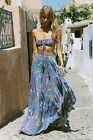 FREE PEOPLE Spell and the Gypsy Lovebird Half Moon Maxi Skirt Small 8 Deep Sky