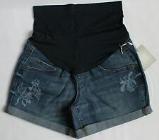a:glow Womens Maternity Size 4 Cuffed Full Belly Panel Jean Shorts Blue Flower