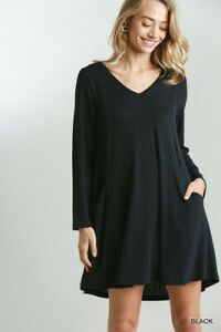 Umgee-Black-V-Neck-Long-Sleeve-Ribbed-Knit-Dress-with-Pockets-Small-Medium-Large