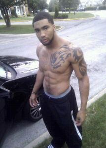 Shirtless Male African American Black Guy Tattoos Gym Pants Photo