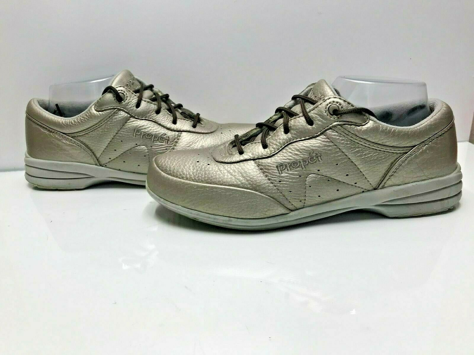 Propet Size 9 D Wide Womens Metallic Gold Brown Leather Walking Comfort Shoes