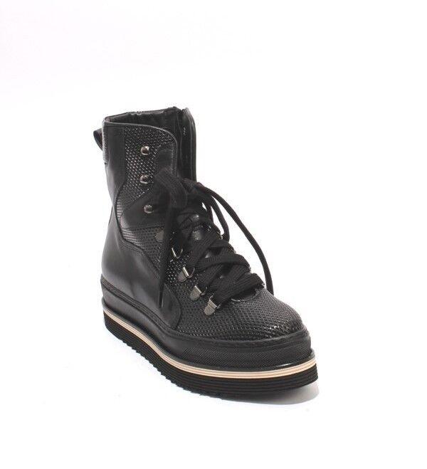 Laura Laura Laura Bellariva 2303 Negro Cuero Con Cordones Cremallera botas al Tobillo 36.5 US 6.5  Compra calidad 100% autentica
