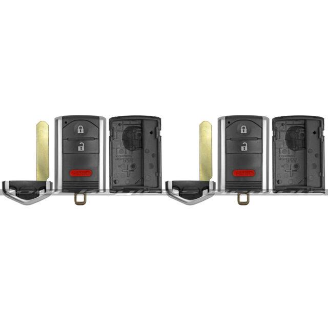 2 Smart Prox Remote Case W/ Uncut Key Blade For 2010-2012