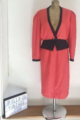 """Anni 1960 'mansfield """"pura Lana Pink & Navy Suit-gonna & Giacca Taglia 14-mostra Il Titolo Originale Styling Aggiornato"""