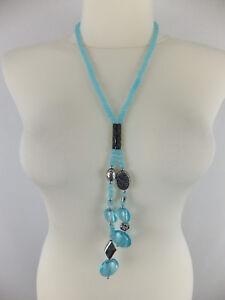 Halskette-mit-Muranoglas-neu-Modeschmuck-tuerkis-silberfarben-Hippie-Boho