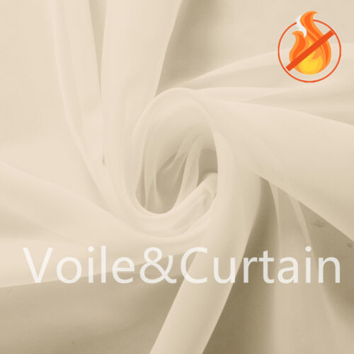 Ivory Fire Retardant Voile fabric 150 and 300cm wide Wedding Event Ceiling Drape