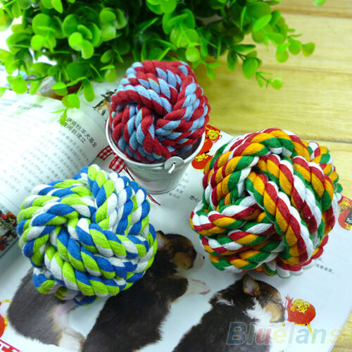 Trendy Pet Puppy Dogs Cotton Ropes Chews Toy Ball Play Braided Bone Knot For Fun