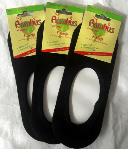 3 Pair Women/'s Bamboo Footies Socks with Non-Slip Silicone Pad Black 35-42