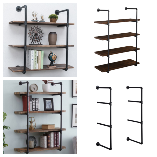 2x 4 Tier Iron Pipe Shelf Wall Mounted