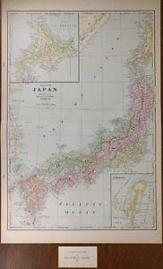 Vintage 1901 Japan Islands Map 14 X22 Old Antique Tokyo Osaka Kyoto