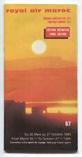 ROYAL AIR MAROC TIMETABLE MARCH-OCTOBER 1984 MOROCCO RAM NO.67