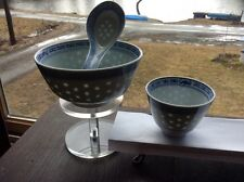 Asian Rice Bowl with Matching Soup Bowl and Spoon