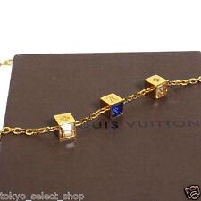 T1 Auth Louis Vuitton Gamble Necklace Goldtone Cube Rhinestone M65096 LE0143 IT