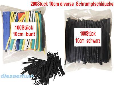 200x Stück Schrumpfschlauch 10cm Lang 1,5-13mm Weiß Blau Türkis Rot Gelb Schwarz Herausragende Eigenschaften
