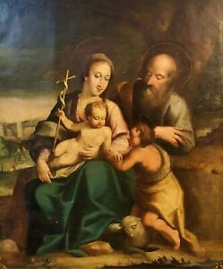 Holy-family-and-st-jean-oil-on-canvas-italian-school-Italy-seventeenth