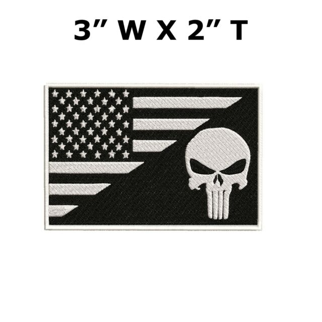 PUNISHER SKULL TAN Iron On Patch USA Military Tactical