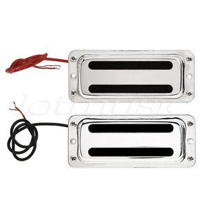 mini humbucker bridge neck pickups set for bass guitar parts chrome ebay. Black Bedroom Furniture Sets. Home Design Ideas