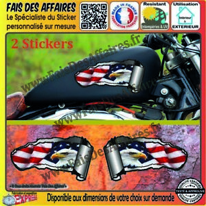 2-Stickers-Autocollant-aigle-reservoir-moto-harley-bobber-custom-chopper