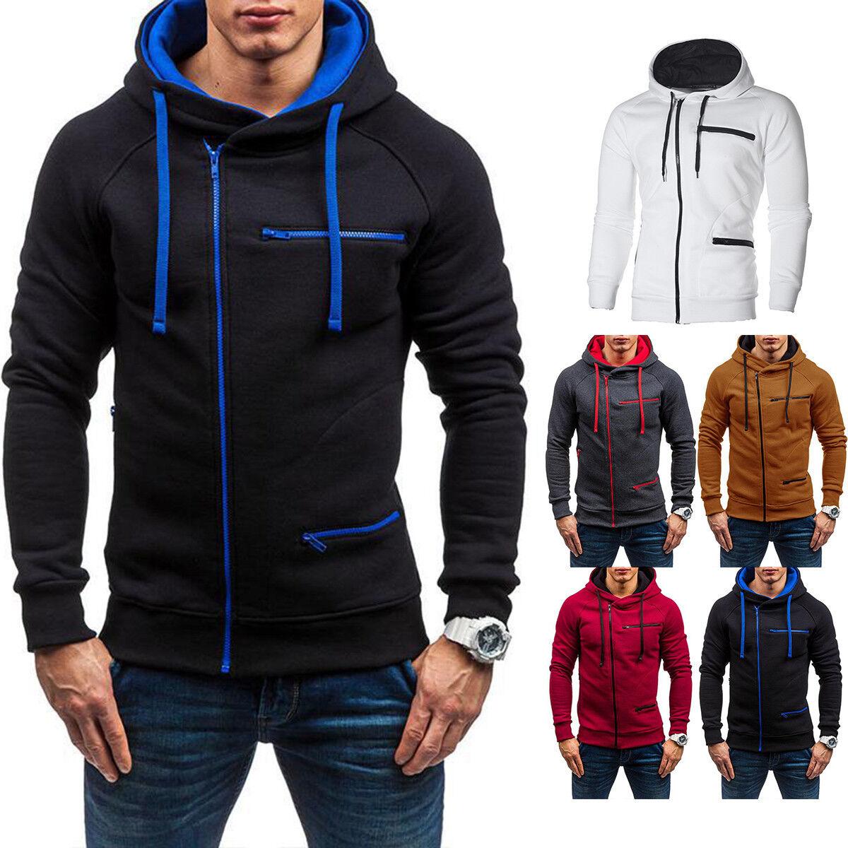 Férfi őszi téli kapucnis kapucnis pulóver kabát kabát Outwear Jumper Sweater 7449cba9d3