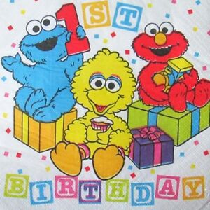 36ct Sesame Street 1st Birthday Big Bird Lunch Napkins