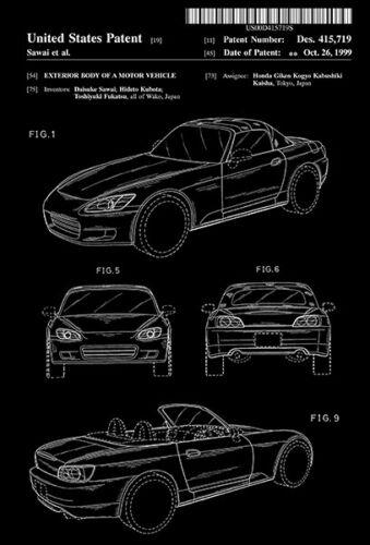 Sawai Honda S2000 Design 1999 Motor Vehicle D Patent Art Poster