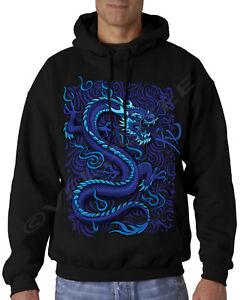Velocitee Mens Long Sleeve T Shirt Fantasy Blue Dragon Oriental Horror A11511