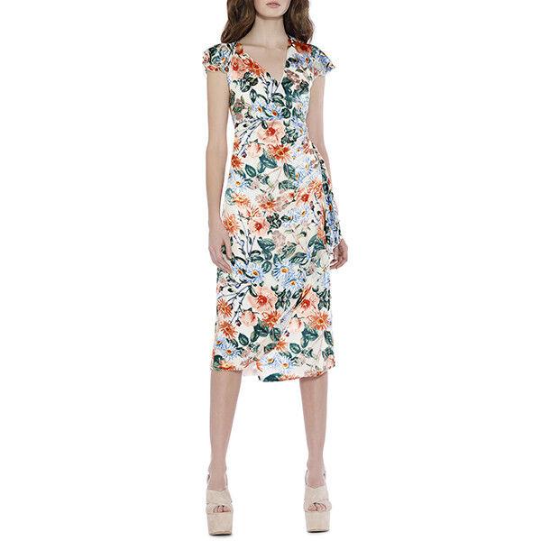 375 ALICE + OLIVIA Garnet Floral Fields Ruched Wrap Dress CC804B21545 2 4 6