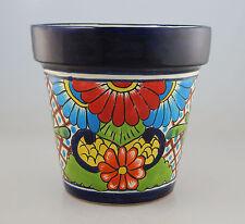 Mexican Ceramic Flower Pot Planter Folk Art Pottery Handmade Talavera # 28