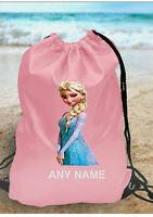 GIRLS Personalised  Frozen Elsa Gym BAG for Swim PE Dance School Great
