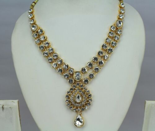 Indian Fashion Jewelry Wedding Gold Plated Necklace Earring Tikka Set Women New