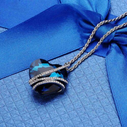 1PC Blue Heart of Ocean Cristal Collier Pendentif Long Pull chaîne Bijoux