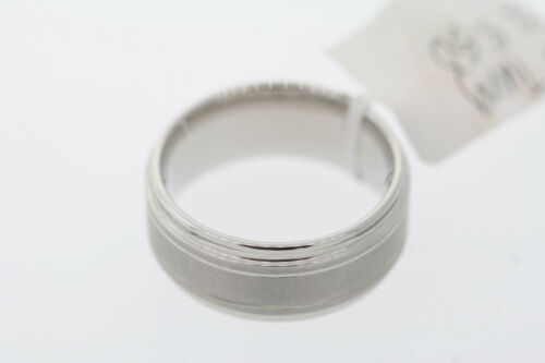 Triton 9mm White Tungsten Satin Center Double Grooved Polish Step Edge Band Ring