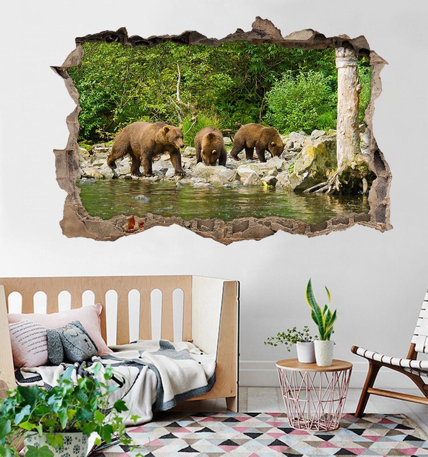 3D Orso Del Lago 125 Parete Murales Adesivi Decal Sfondamento AJ WALLPAPER IT
