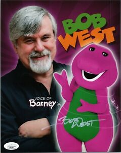 BOB-WEST-Authentic-Hand-Signed-034-BARNEY-THE-DINOSAUR-034-8x10-Photo-JSA-COA