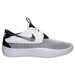 0e209de4 Image is loading Mens-NIKE-Solarsoft-Moccasin-White-Black-Trainers-555301-