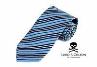 Lord R Colton Basics Tie - English Blue & Navy Stripe Necktie - $59 Retail on sale