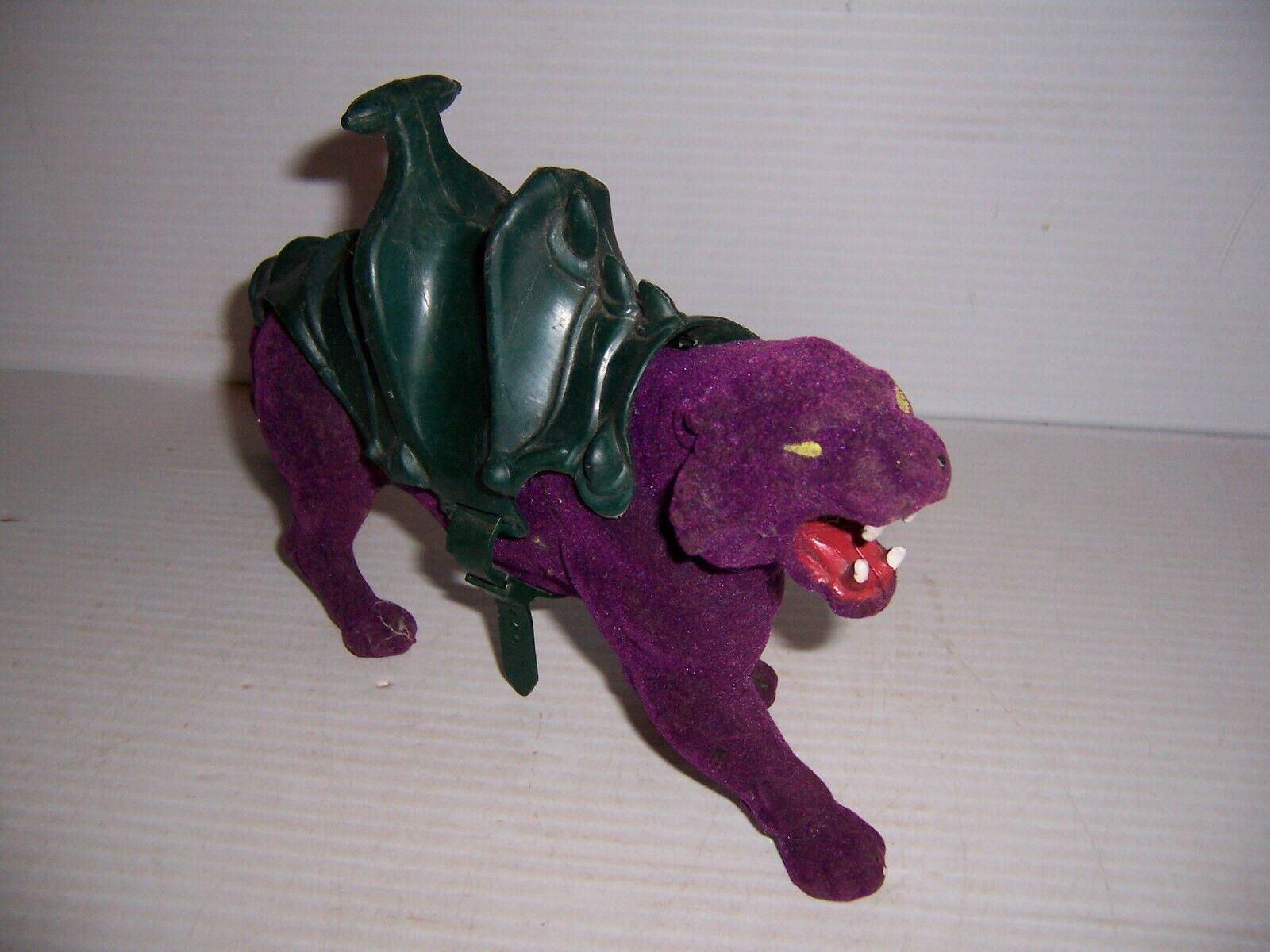 1983 los Amos del Universo Amos del Universo Panthor púrpura Battle Cat figura con silla de montar