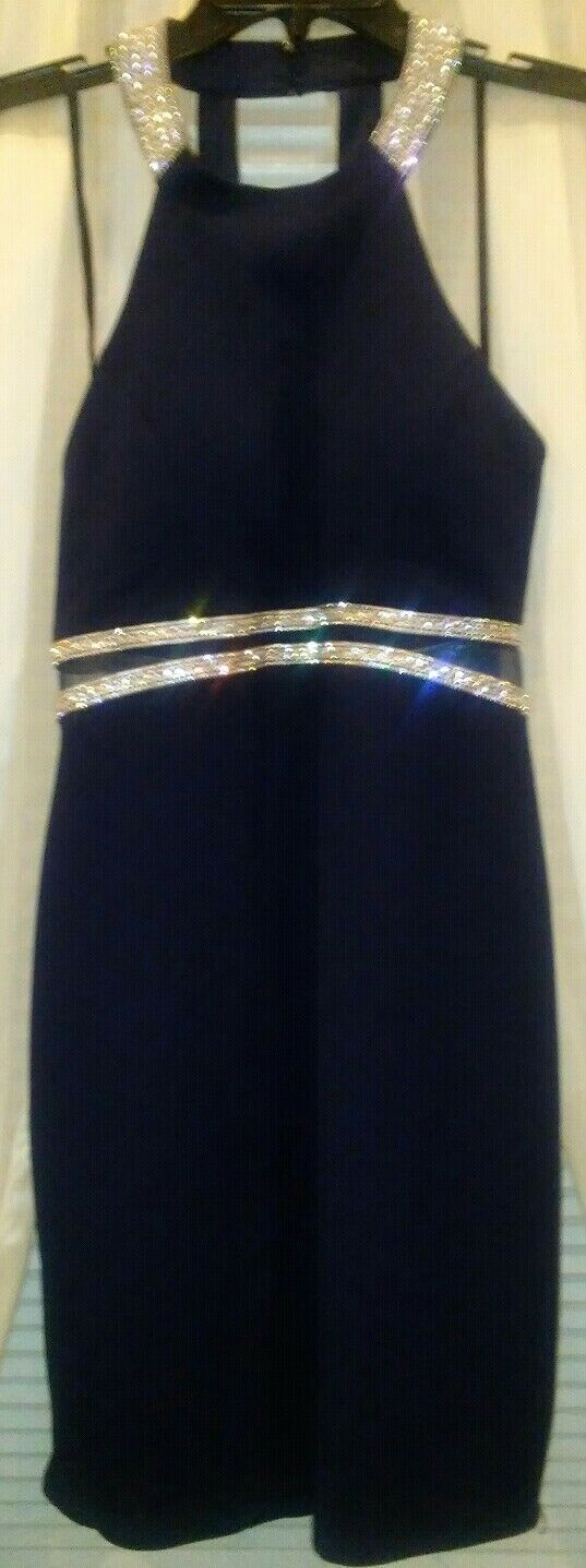 *NWT* My Michelle Halter Style Embellished Fitted Short Dress Size 11 Navy Blue