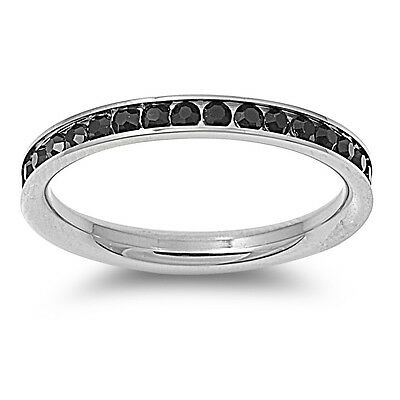 Stackable Stainless Steel Cubic Zirconia Eternity Promise Ring NEW Size 4 to 10