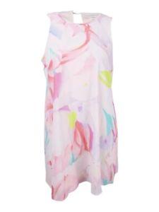 Calvin-Klein-Women-039-s-Plus-Size-Printed-Trapeze-Dress