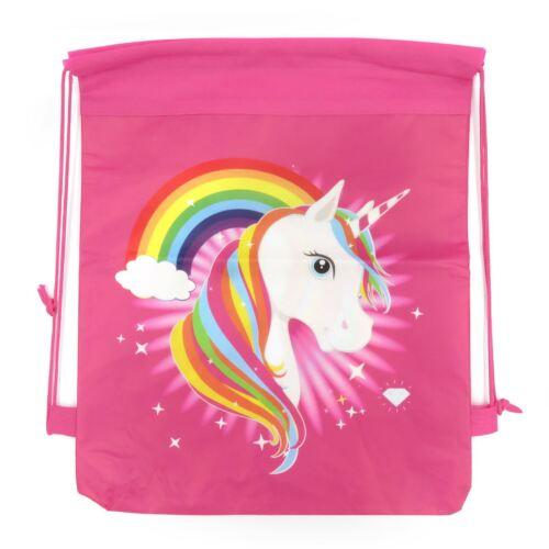 Kids Rainbow Unicorn Drawstring Girls Sports Gym Swim PE Kit School Backpack UK