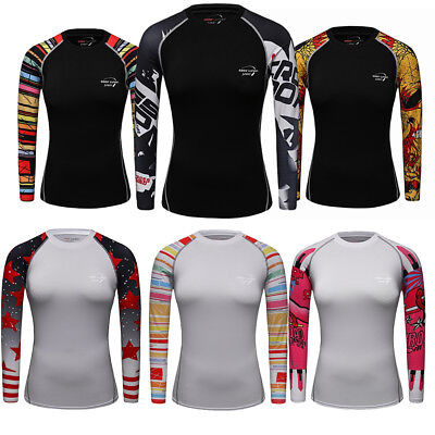 Women/'s Compression Tops Running Yoga Fitness Gym Dri fit Shirts Long Sleeve Tee