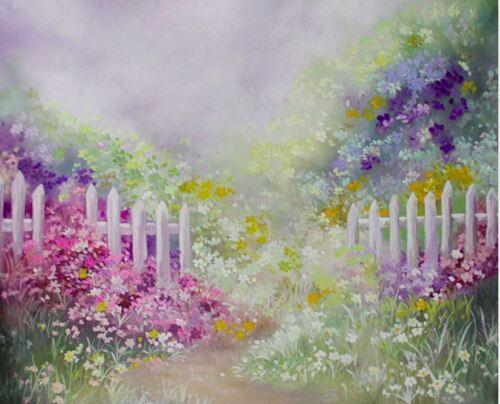 FLOWER DREAM GARDEN FENCE PINK BLUE BACKDROP VINYL PHOTO PROP 7X5FT 220X150CM