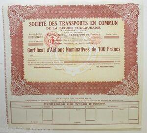Certificat D Actions: Sté Des Transports En Commun Region Toulousaine ( 399 ) Xlkdowhv-08005730-910353189