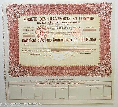 certificat d actions 566 Sté Tramways et Omnibus F.Pons de Toulouse