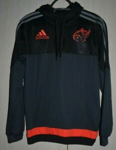 MUNSTER-RUGBY-IRELAND-TEAM-HOODIES-TRAINING-JACKET-JERSEY-ADIDAS-SIZE-S-ADULT