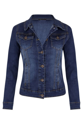 Denim Boyfriend Fit Jacket NEW Womens Ladies Jean Parka Blue Size 6-14 PLUS SIZE