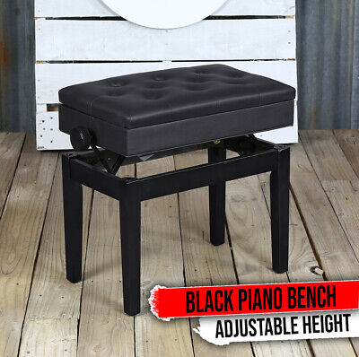 Comfortable Seat Perfect for Home /& Professional Use//Black Leather Adjustable Piano Bench Vintage Design