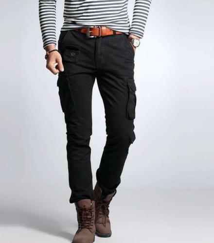 Hot Men Hiking Packets Overall Cotton Blend Skinny Military Cargo Trouser Pants