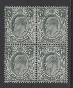 Block-of-4-GB-KEVII-7d-Grey-Black-SG249-Edward-VII-Mint-Hinged-Stamps